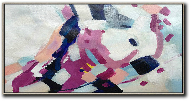 Horizontal Palette Knife Contemporary Art,Large Canvas Art,White,Nude,Purple,Dark Blue