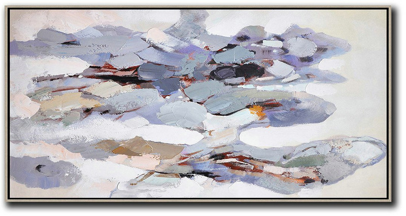 Horizontal Palette Knife Contemporary Art,Hand Paint Large Art,White,Grey,Purple