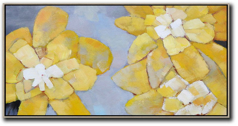 Horizontal Palette Knife Contemporary Art,Large Abstract Wall Art,Dusty Blue,Yellow,White