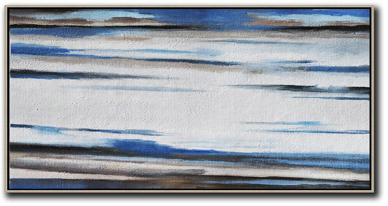 Hand Painted Panoramic Abstract Painting,Large Abstract Art Handmade Acrylic Painting,White,Blue,Brown