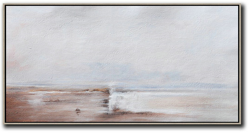 Hand Painted Panoramic Abstract Painting,Original Art Acrylic Painting,Beige,Grey,White
