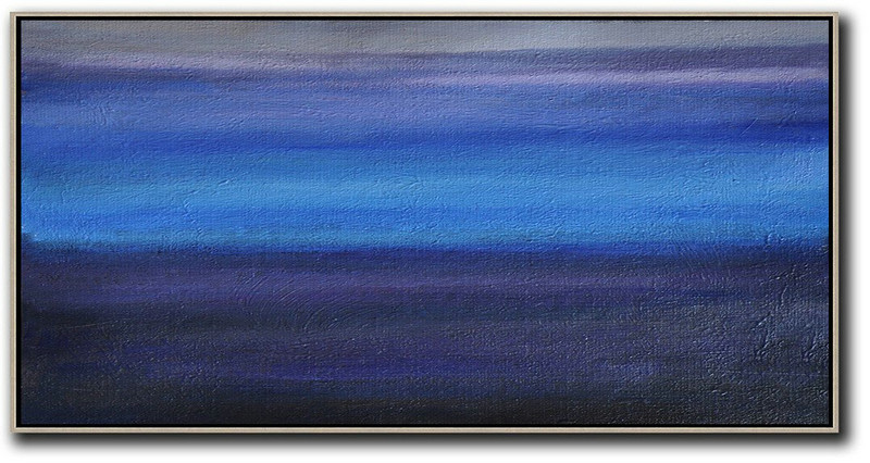 Hand Painted Panoramic Abstract Painting,Huge Abstract Canvas Art,Grey,Blue,Black