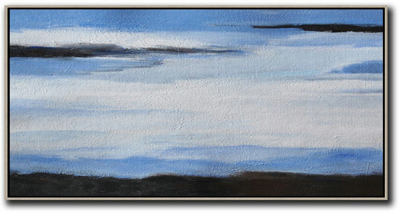 Hand Painted Panoramic Abstract Painting,Big Canvas Painting,White,Blue,Black