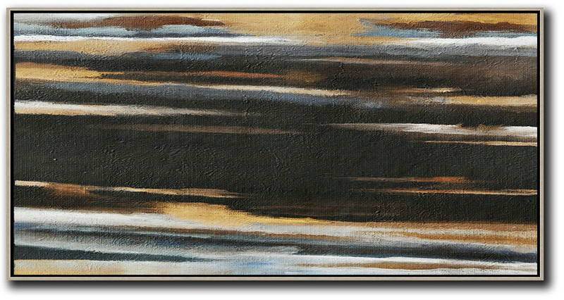 Hand Painted Panoramic Abstract Painting,Original Abstract Painting Canvas Art,Earthy Yellow ,Black,White