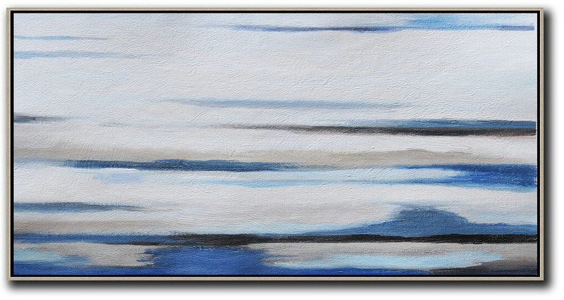 Hand Painted Panoramic Abstract Painting,Extra Large Wall Art,White,Grey,Blue,Black