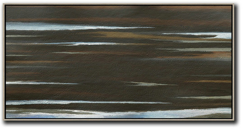 Hand Painted Panoramic Abstract Painting,Modern Art Abstract Painting,Black,Brown,White