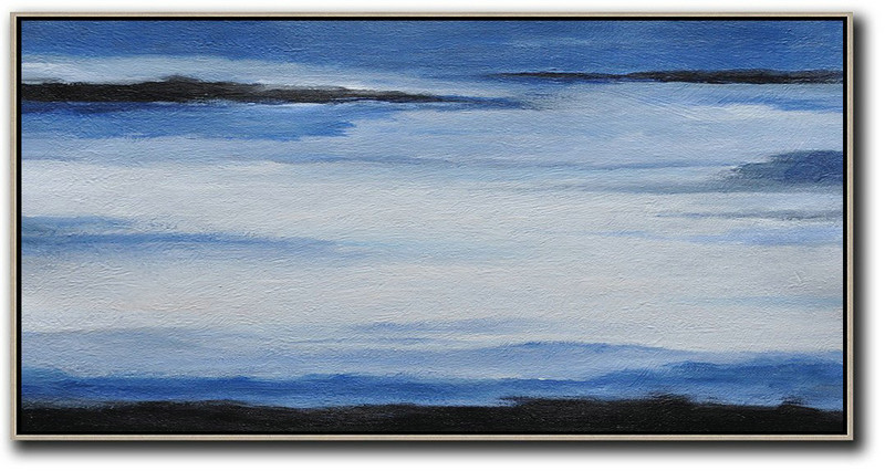 Hand Painted Panoramic Abstract Painting,Large Canvas Art,Modern Art Abstract Painting,Blue,White,Black