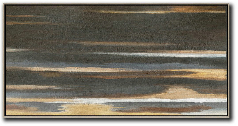 Hand Painted Panoramic Abstract Painting,Large Canvas Wall Art For Sale,Black,Brown,Grey,Yellow,White