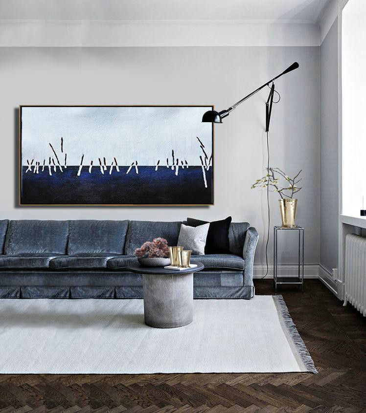 Hand Painted Panoramic Abstract Painting,Modern Paintings On Canvas,White,Grey,Dark Blue,Black