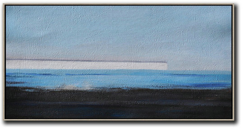 Hand Painted Panoramic Abstract Painting,Modern Paintings,Sky Blue,White,Blue,Black