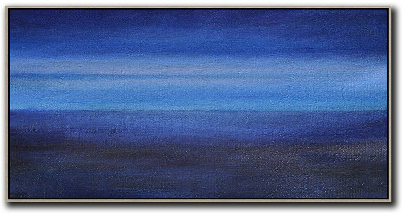 Hand Painted Panoramic Abstract Painting,Canvas Wall Art,Dark Blue,Light Blue,Black