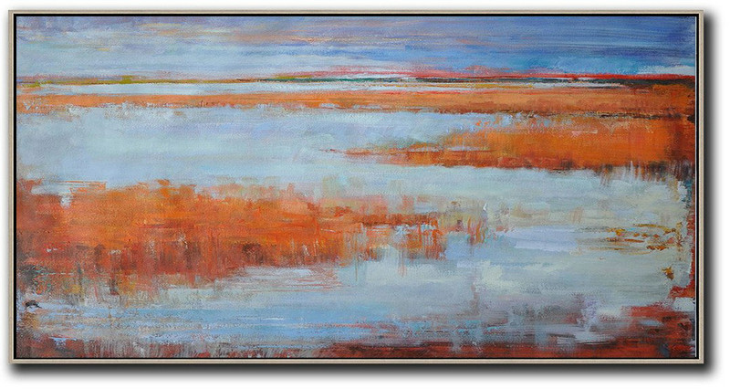 Panoramic Abstract Landscape Painting,Huge Canvas Art On Canvas,Blue,Orange,Red