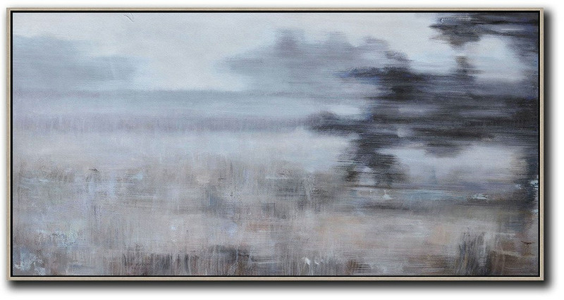 Panoramic Abstract Landscape Painting,Large Wall Art Canvas,Grey,Black,Brown