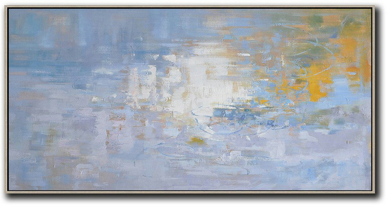 Panoramic Abstract Landscape Painting,Art Work,Light Blue,Yellow,White