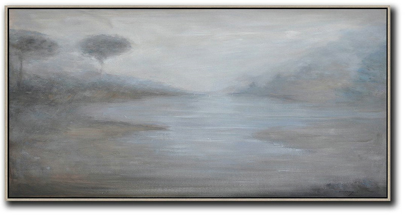 Panoramic Abstract Landscape Painting,Size Extra Large Abstract Art,Beige,White,Grey