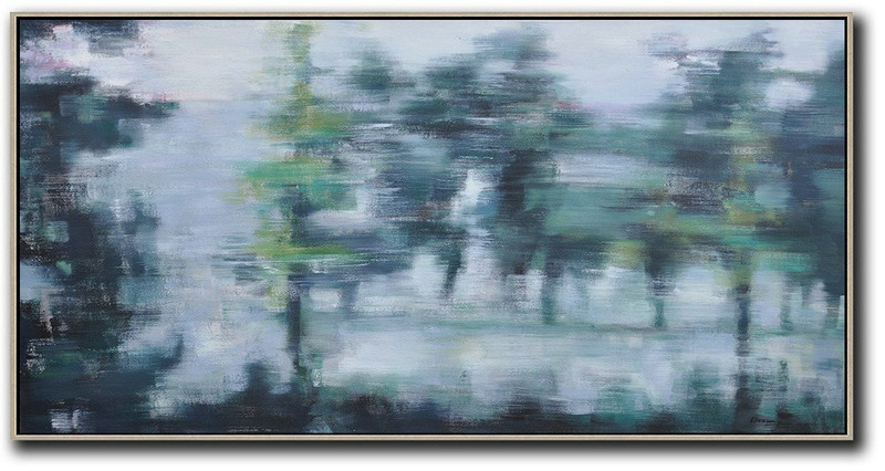 Panoramic Abstract Landscape Painting,Modern Art,Grey,Dark Green,Black
