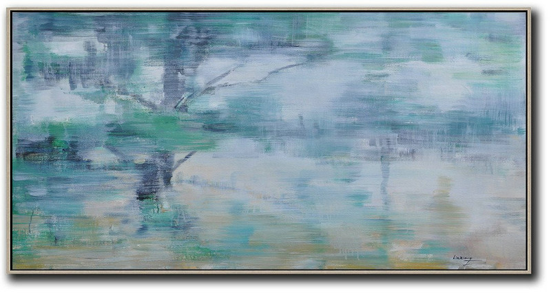 Panoramic Abstract Landscape Painting,Modern Abstract Wall Art,Blue Grey,Green,White,Yellow