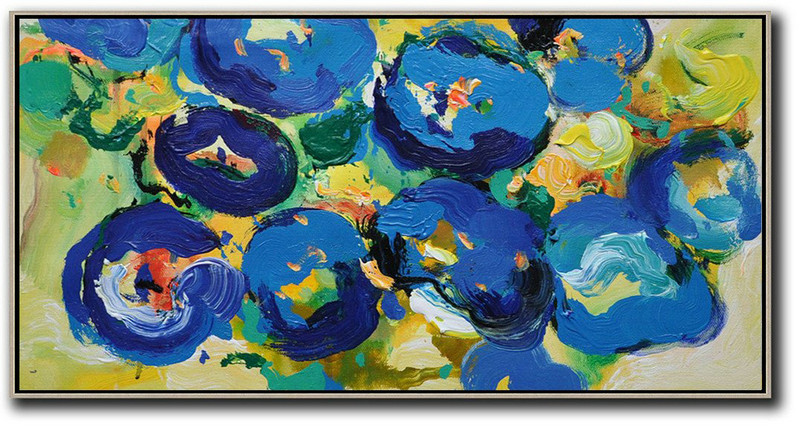 Horizontal Palette Knife Contemporary Art Panoramic Canvas Painting,Living Room Canvas Art,Blue,Yellow,Green