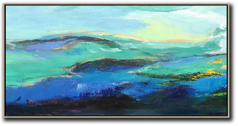 Horizontal Palette Knife Abstract Landscape Art Panoramic Canvas Painting,Extra Large Canvas Painting,Dark Blue,Green,Black,Yellow