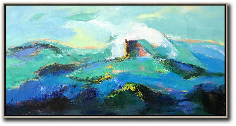 Horizontal Palette Knife Abstract Landscape Art Panoramic Canvas Painting,Canvas Wall Paintings,Blue,Green,White,Black