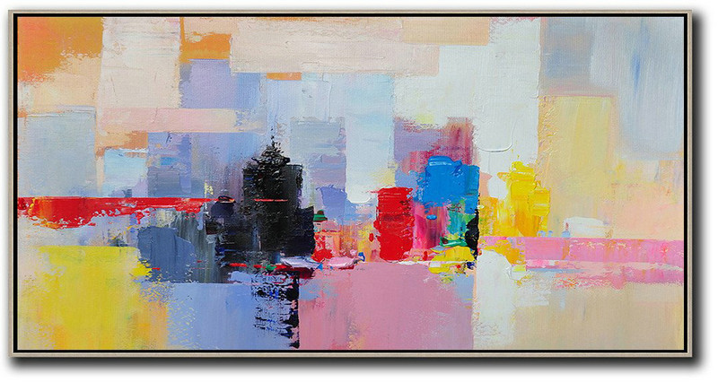 Horizontal Palette Knife Contemporary Art Panoramic Canvas Painting,Abstract Painting Modern Art,Black,Pink,Yellow,Red,Blue
