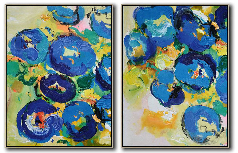 Set Of 2 Abstract Flower Painting On Canvas,Modern Art,Yellow,Blue,Green