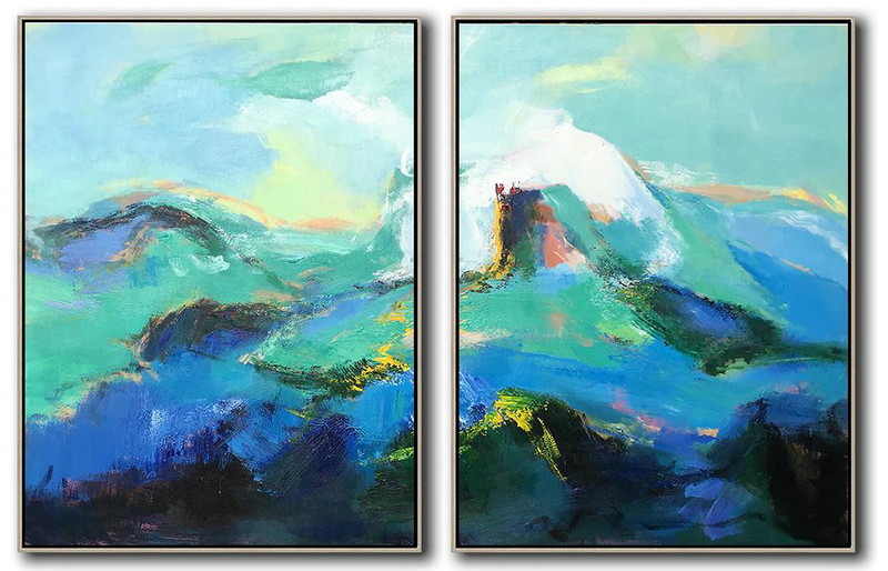 Set Of 2 Abstract Landscape Painting On Canvas,Acrylic Painting Wall Art,Green,Blue,Black,White
