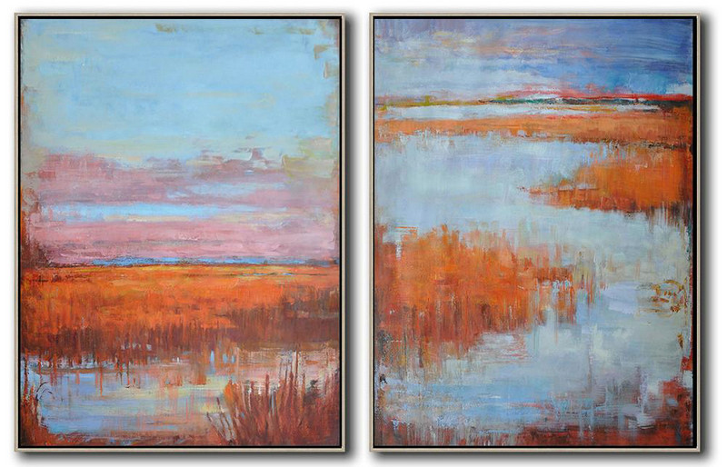 Set Of 2 Abstract Landscape Painting On Canvas,Custom Canvas Wall Art,Blue,Pink,Red