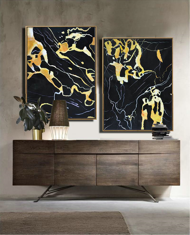 Set Of 2 Abstract Marble Painting On Canvas,Canvas Artwork For Sale,Black,White,Yellow