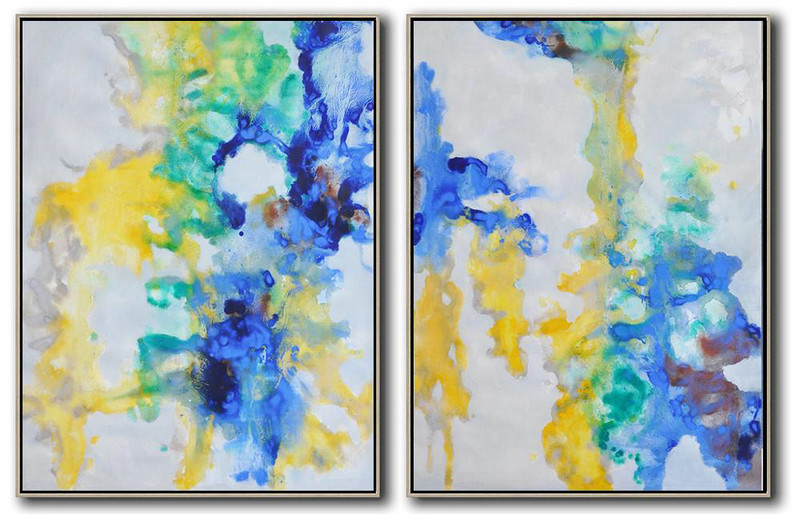 Set Of 2 Abstract Oil Painting On Canvas,Acrylic Painting On Canvas,Grey,Yellow,Blue,Green