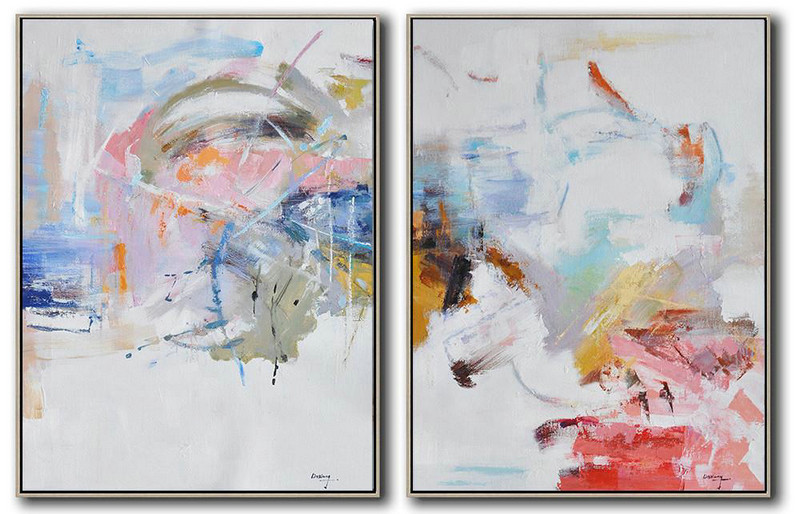 Set Of 2 Abstract Oil Painting On Canvas,Canvas Wall Art,White,Pink,Blue,Gray