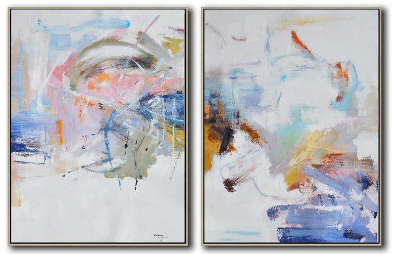 Set Of 2 Abstract Oil Painting On Canvas,Original Art,White,Grey,Pink,Blue,Yellow