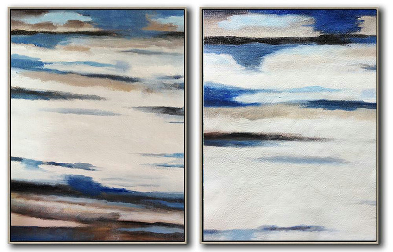 Set Of 2 Abstract Painting On Canvas,Large Abstract Wall Art,White,Blue,Black,Brown