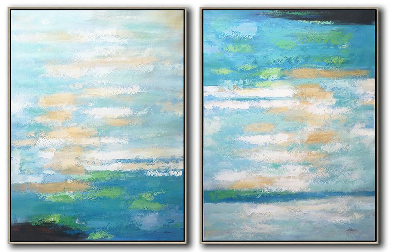 Set Of 2 Abstract Painting On Canvas,Hand Painted Abstract Art,Blue,White,Yellow,Green