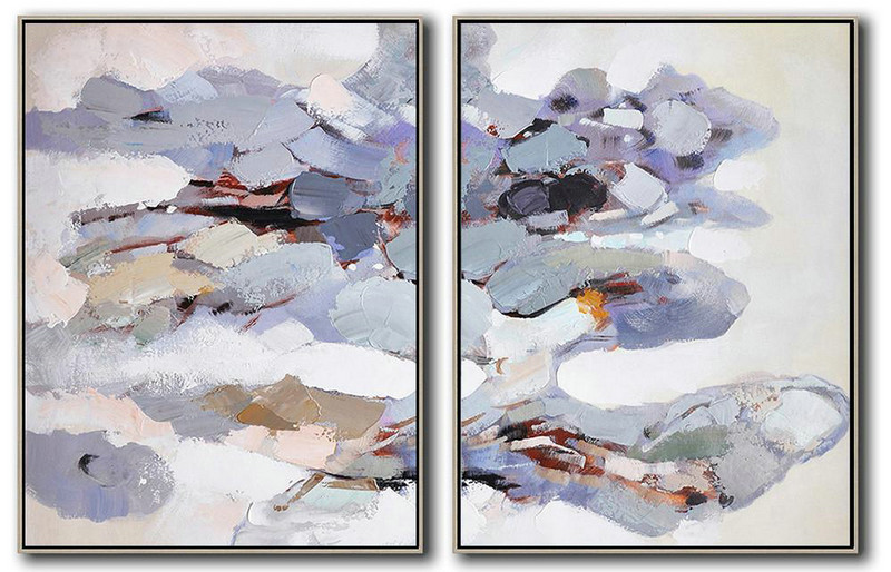 Set Of 2 Abstract Painting On Canvas,Artwork For Sale,Pink,Gray,Purple,White