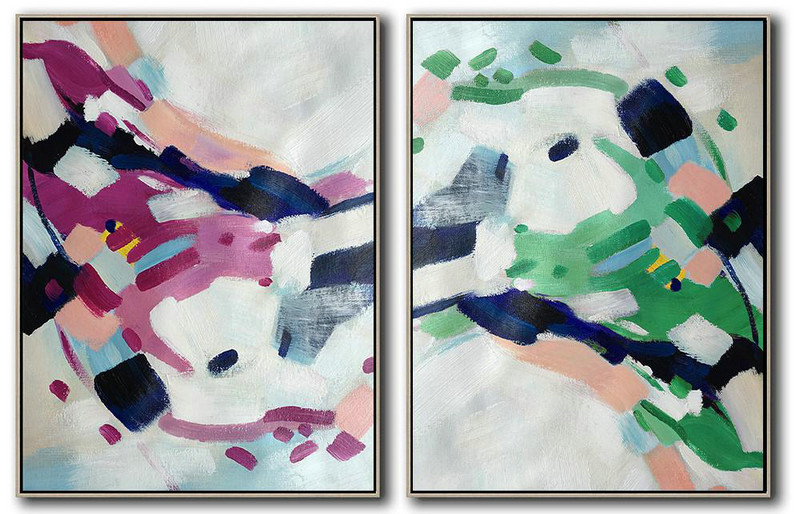 Set Of 2 Abstract Painting On Canvas,Acrylic Painting On Canvas,White,Pink,Purple,Green,Dark Blue