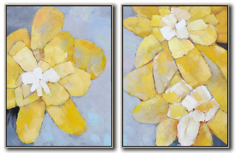 Set Of 2 Abstract Painting On Canvas,Large Living Room Wall Decor,Grey,Yellow,White