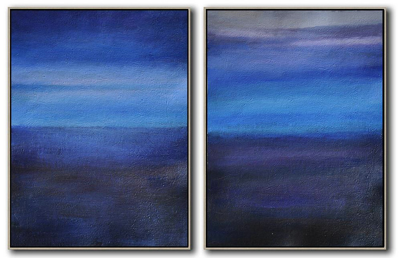 Set Of 2 Abstract Painting On Canvas,Wall Art Painting,Light Blue,Dark Blue,Grey,Black