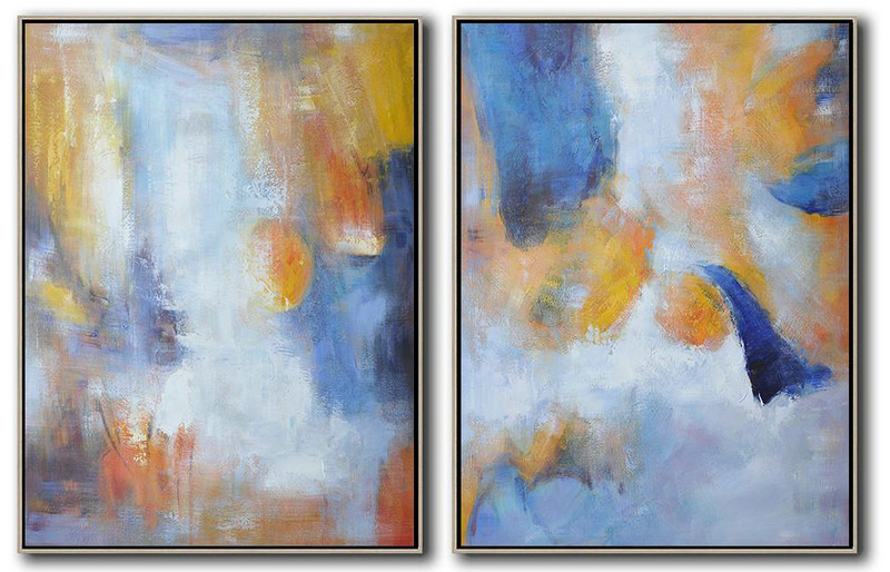 Set Of 2 Abstract Painting On Canvas,Colorful Wall Art,Blue,White,Orange,Yellow