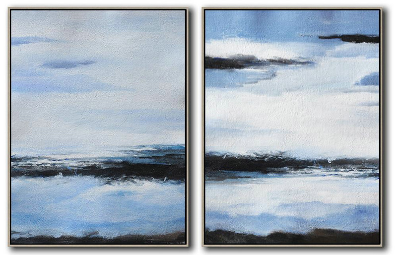Set Of 2 Abstract Painting On Canvas,Wall Art Ideas For Living Room,Blue,White,Black