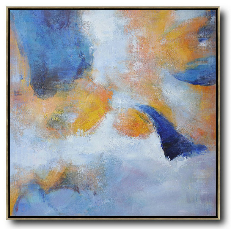 Oversized Square Abstract Art,Hand-Painted Canvas Art,White,Blue,Yellow