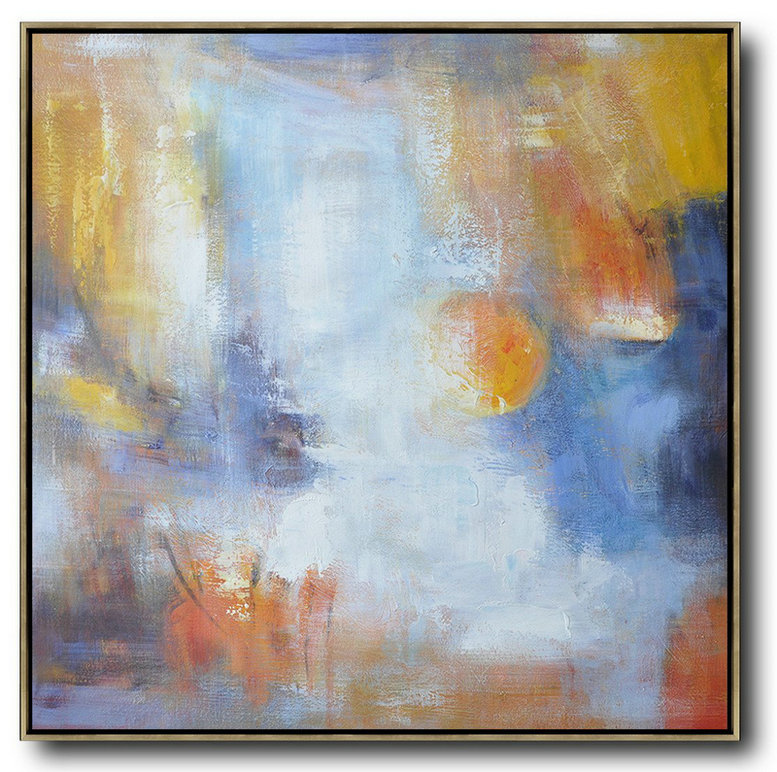Oversized Square Abstract Art,Canvas Wall Paintings,Red,White,Yellow,Blue