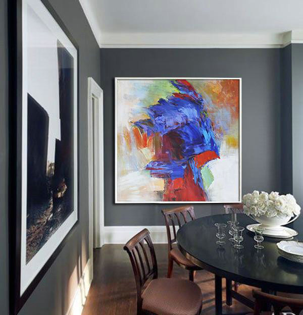 Oversized Square Abstract Art,Abstract Oil Painting,Blue,Red,Orange