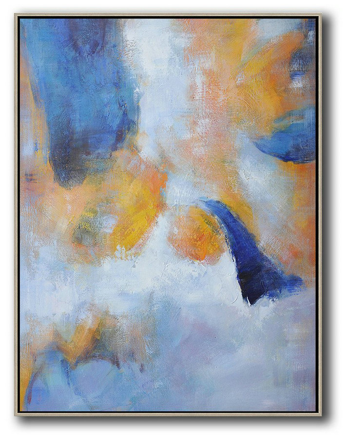 Hand Painted Vertical Abstract Art,Huge Abstract Canvas Art,Yellow,White,Blue