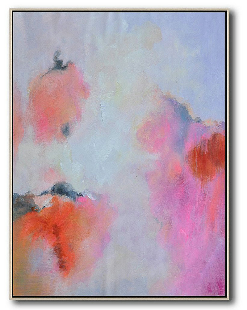 Hand Painted Vertical Square Abstract Art,Acrylic Painting On Canvas,Blue,Pink,Red