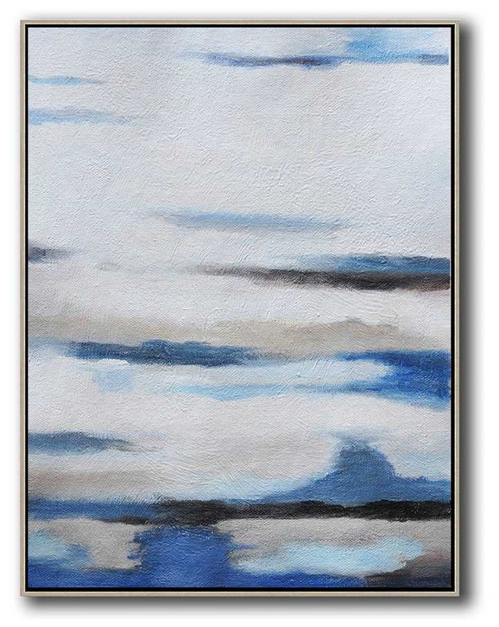 Oversized Abstract Landscape Painting,Pop Art Canvas,White,Blue,Grey