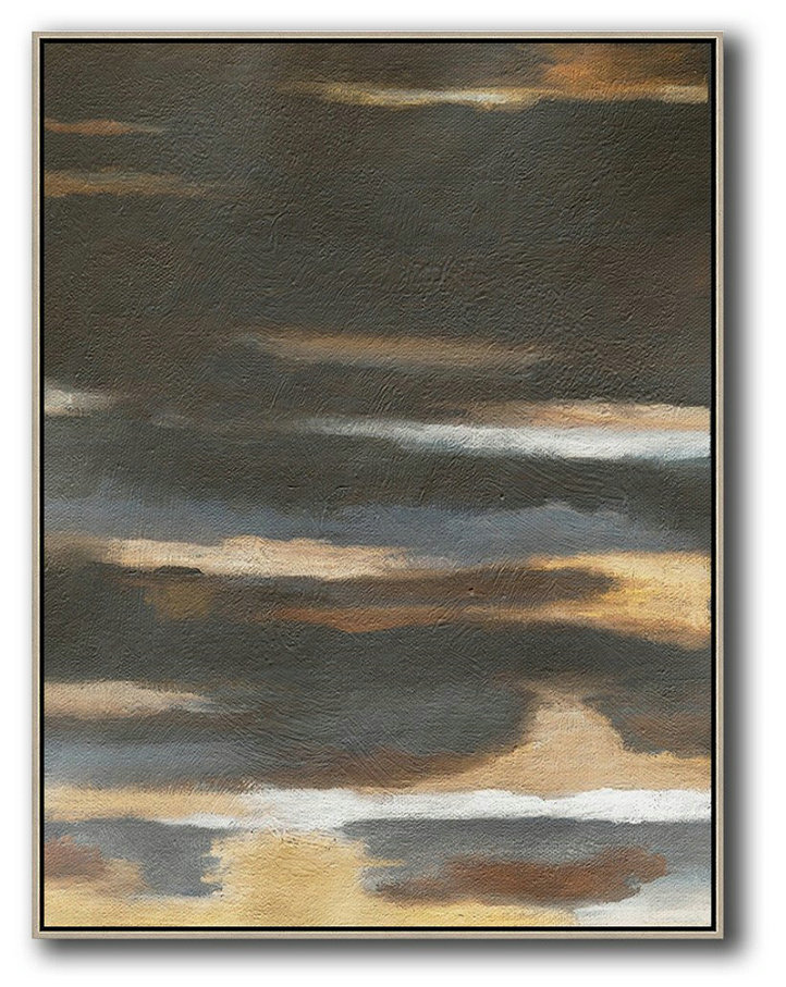 Oversized Abstract Landscape Painting,Large Living Room Decor,Black,Yellow,Brown,Grey
