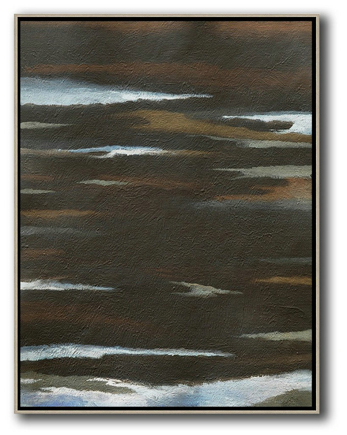 Oversized Abstract Landscape Painting,Canvas Paintings For Sale,Black,White,Brown