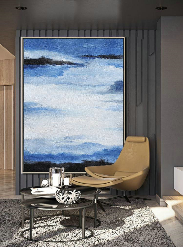 Oversized Abstract Landscape Painting,Canvas Wall Art Home Decor,Blue,White,Black