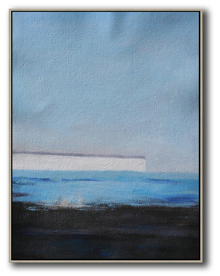 Oversized Abstract Landscape Painting,Big Painting,Grey,White,Blue,Black